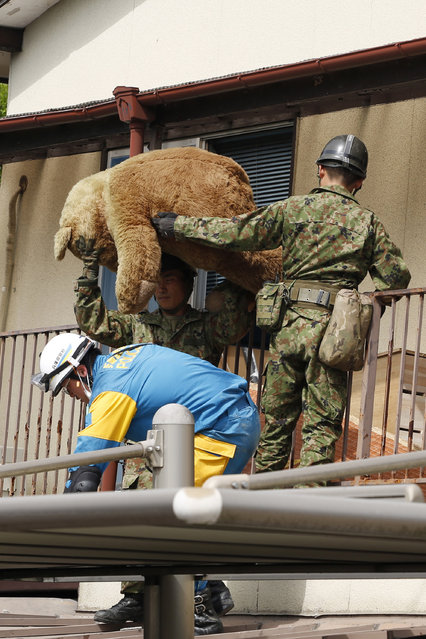 Rescue workers take out a teddy bear from Yumiko Yamauchi's collapsed house while searching for Yamauchi in Mashiki, Kumamoto prefecture, southern Japan, Saturday, April 16, 2016. (Photo by Koji Ueda/AP Photo)