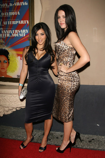 """Kim Kardashian and Khloe Kardashian during """"A Midsummer Night's Dream"""" Annual Celebrity All-Star Charity Weekend at """"The Avalon"""" Club in Hollywood, California, United States on July 7, 2006. (Photo by Mirek Towski/FilmMagic)"""