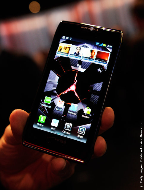 Motorola's Droid Razr Maxx on display at the Motorola's booth at the 2012 International Consumer Electronics Show