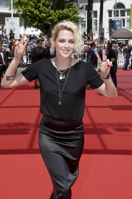Actress Kristen Stewart poses for photographers upon arrival at the screening of the film American Honey at the 69th international film festival, Cannes, southern France, Sunday, May 15, 2016. (Photo by Lionel Cironneau/AP Photo)