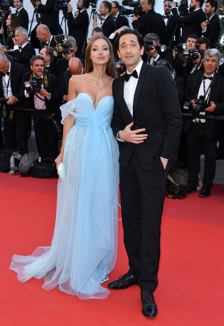"""Lara Lieto and Adrien Brody attend the """"Ismael's Ghosts (Les Fantomes d'Ismael)"""" screening and Opening Gala during the 70th annual Cannes Film Festival at Palais des Festivals on May 17, 2017 in Cannes, France. (Photo by George Pimentel/WireImage)"""