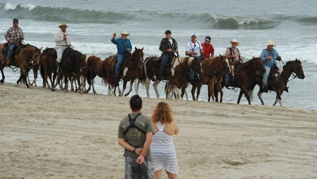 Saltwater Cowboys lead the northern herd of Chincoteague Ponies down the beach at Assateague Island, Va. on Monday morning, July 27, 2015 to the pony corral in preparation for Wednesday's 90th annual Chincoteague Pony Swim. (Photo by Jay Diem/AP Photo/Eastern Shore News)