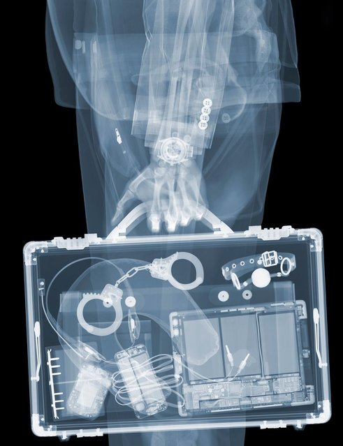 """""""Businessman"""": Kinky handcuffs in briefcase. (Photo by Nick Veasey/Barcroft Media)"""