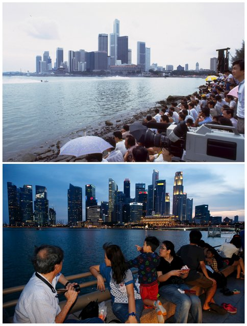 A combination picture shows people watching the Powerboat Grand Prix near the central business district along the Marina Bay in Singapore in a photo dated November 22, 1986 (top) and the same location July 25, 2015. (Photo by Edgar Su/Reuters/National Archives of Singapore/Ministry of Information and the Arts)
