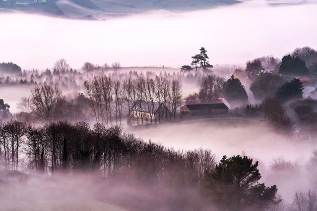 Early risers were greeted by fog on Brading Down, Isle of Wight off the south coast of England on December 31, 2019. Today will be damp in the southwest but largely dry and mild elsewhere. (Photo by Sienna Anderson/Soul Photography)