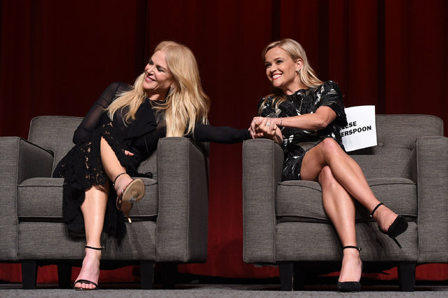 "Nicole Kidman (L) and Reese Witherspoon attend the HBO ""Big Little Lies"" FYC at DGA Theater on July 25, 2017 in Los Angeles, California. (Photo by FilmMagic/FilmMagic for HBO)"