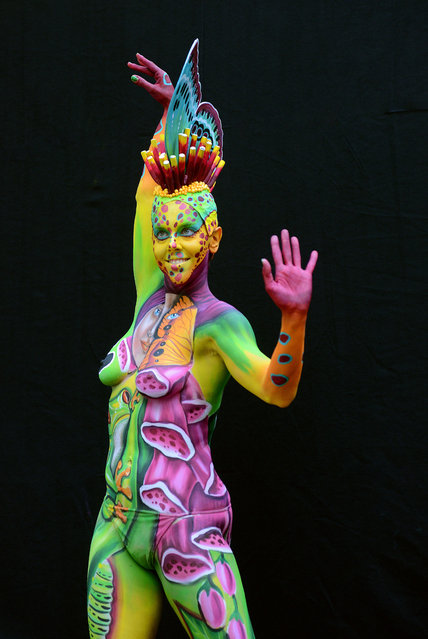 A model poses with her bodypainting designed by bodypainting artist Marilena Censi from Italy, in the 2016 World Bodypainting Festival, 2016 in Poertschach am Woerthersee, Austria. (Photo by Didier Messens/Getty Images)