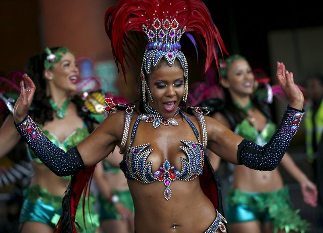 A performer dances at the Notting Hill Carnival in west London, August 31, 2015. (Photo by Eddie Keogh/Reuters)