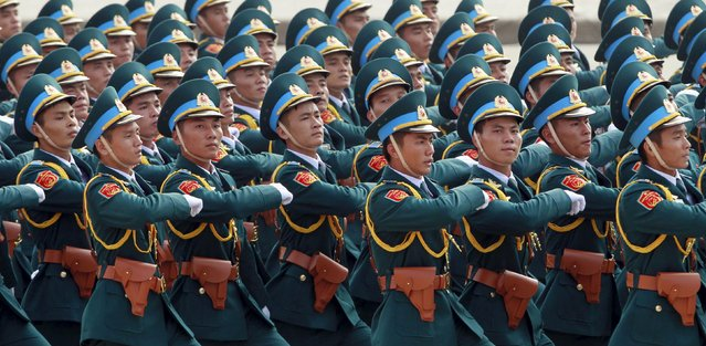 Vietnamese soldiers of airforce march during a parade marking their 70th National Day at Ba Dinh square in Hanoi, Vietnam September 2, 2015. (Photo by Reuters/Kham)