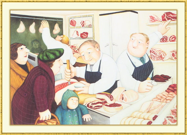 Butchers. Artwork by Beryl Cook