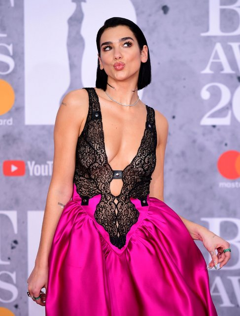 Dua Lipa attending the Brit Awards 2019 at the O2 Arena in London, England on February 20, 2019. (Photo by Ian West/PA Images via Getty Images)