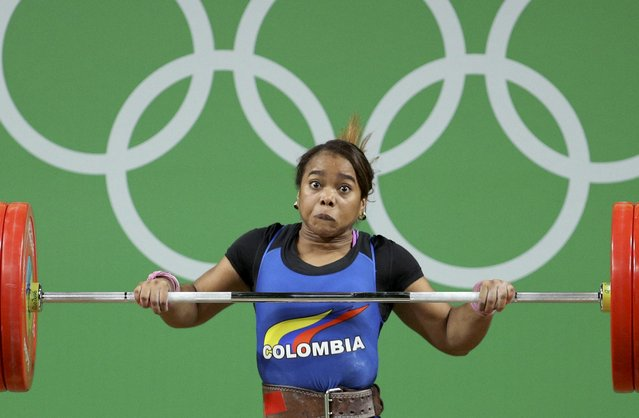 2016 Rio Olympics, Weightlifting, Final, Women's 69kg, Riocentro, Pavilion 2, Rio de Janeiro, Brazil on August 10, 2016. Leidy Solis (COL) of Colombia competes. (Photo by Stoyan Nenov/Reuters)