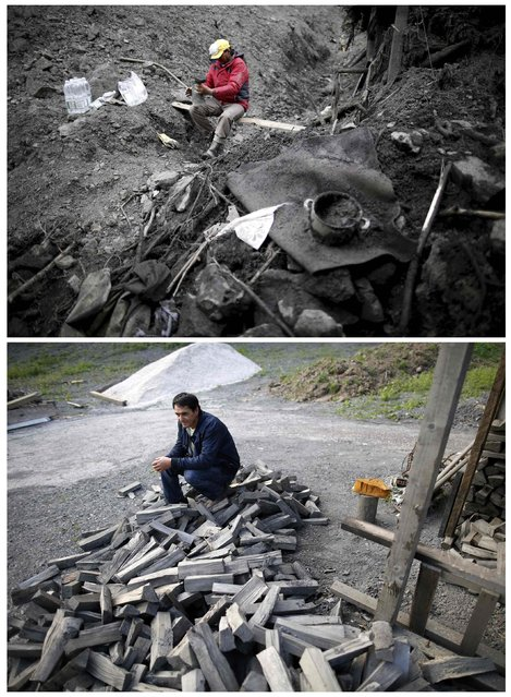 A combination photo shows Kovacevic family changing his boots during floods May 31, 2014 (top) and the same place after floods October 8, 2014 in Topcic Polje. (Photo by Dado Ruvic/Reuters)