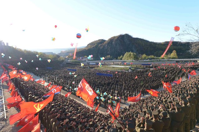 A view of the completion event of the Paektusan Hero Youth Power Station in this undated photo released by North Korea's Korean Central News Agency (KCNA) in Pyongyang October 4, 2015. (Photo by Reuters/KCNA)