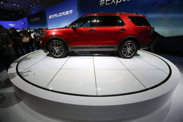 The 2016 Ford Explorer is presented during the Los Angeles Auto Show on Wednesday, November 19, 2014, in Los Angeles. (Photo by Chris Carlson/AP Photo)