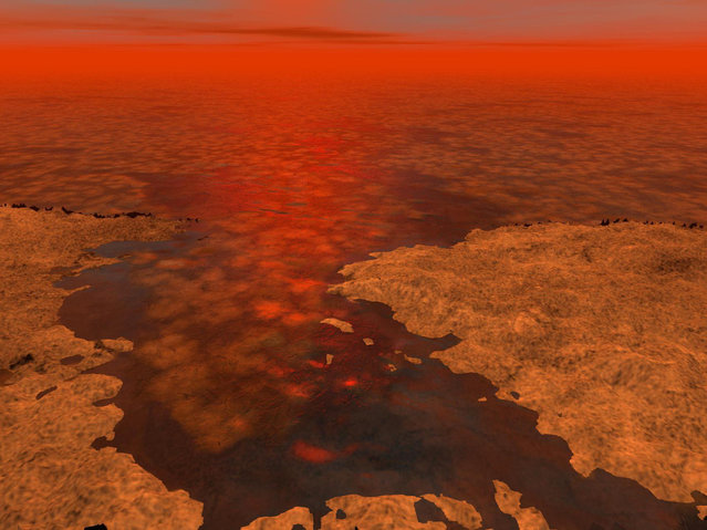 Hydrocarbon ice forming on a liquid hydrocarbon sea of Saturn's moon Titan. Some scientists suggest that clumps of methane-and-ethane-rich ice – shown here as the lighter-colored clusters – could float under some conditions. (Photo by Reuters/NASA/JPL-Caltech/USGS)
