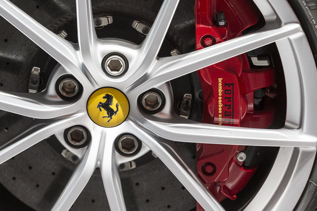 The wheel of the new Ferrari 488 Pista during the press day at the 88th Geneva International Motor Show in Geneva, Switzerland, Tuesday, March 6, 2018. The Motor Show will open its gates to the public from March 8 to 18. (Photo by Cyril Zingaro/Keystone via AP Photo)