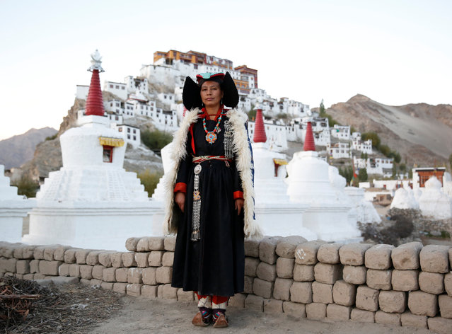 Phunchok Angmo, 33, a mathematics teacher, poses for a photograph at Thiksey monastery, near Leh, the largest town in the region of Ladakh, nestled high in the Indian Himalayas, India September 28, 2016. (Photo by Cathal McNaughton/Reuters)