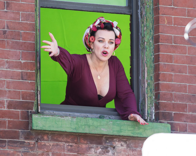 """Debi Mazar showing her ample cleavage while filming """"Younger"""" in New York City on March 26, 2018. (Photo by Allan Bregg/Splash News and Pictures)"""