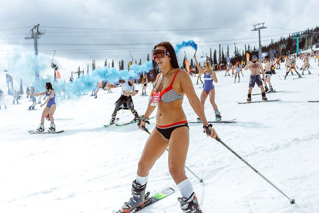 A girl in a swimsuit participate in the Grelka Fest at the ski resort Sheregesh in Tashtagolsky District of Kemerovo Oblast, Russia on April 15, 2018. (Photo by Grelka Fest/The Siberian Times)