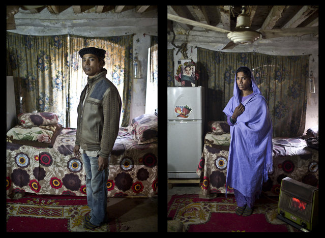 This combination of two images taken on Thursday, January 15, 2015, shows Pakistani Riasat Hussain, 19, posing for a picture at a friend's place in Rawalpindi, Pakistan. Across conservative Pakistan, where Islamic extremists launch near-daily attacks and many follow a strict interpretation of their Muslim faith, male cross-dressers and the transgendered face a challenge of balancing two identities. (Photo by Muhammed Muheisen/AP Photo)