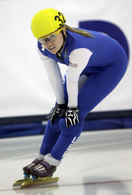 Jessica Smith looks on after competing in the finals of the women's 3,000-meter race during the U.S. short track speedskating championship Sunday, January 18, 2015, in Kearns, Utah. Smith came in first place. (Photo by Rick Bowmer/AP Photo)
