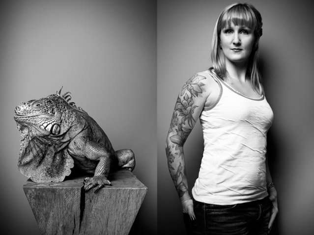 "Pet owner Jenny with her iguana, ""Blue"". (Photo by Tobias Lang)"