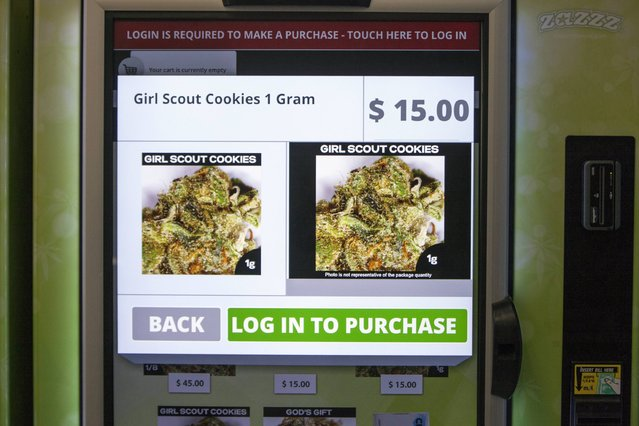 A view of the screen of a ZaZZZ vending machine that contains cannabis flower, hemp-oil energy drinks, and other merchandise at Seattle Caregivers, a medical marijuana dispensary, in Seattle, Washington February 3, 2015. (Photo by David Ryder/Reuters)