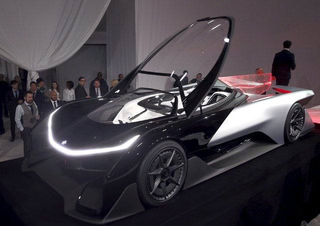 The Faraday Future FFZERO1 electric concept car is shown after an unveiling at a news conference in Las Vegas, Nevada January 4, 2016. (Photo by Steve Marcus/Reuters)