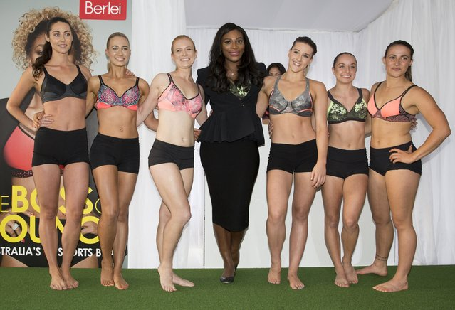 Tennis champion Serena Williams (C) of the U.S. stands with models during a promotional event for women's underwear in Melbourne, Australia, January 14, 2016. (Photo by Fiona Hamilton/Reuters)