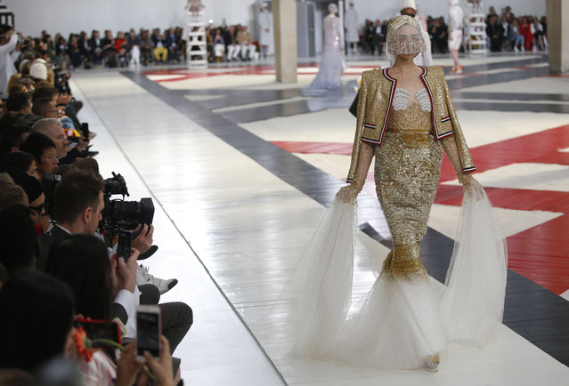 A model wears a creation for Thom Browne Spring/Summer 2019 ready-to-wear fashion collection presented in Paris, Sunday, September 30, 2018. (Photo by Thibault Camus/AP Photo)