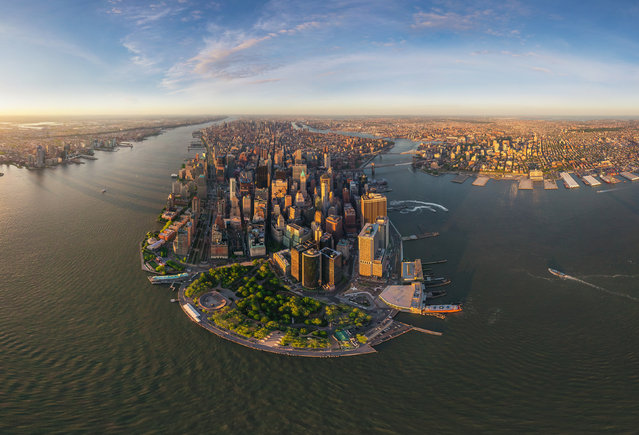 Manhattan, New York at sunset. (Photo by Airpano/Caters News)