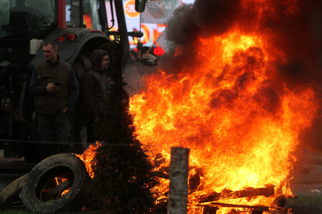 French farmers look on after setting on fire tyres and other items to block roads in front of a Mall in Angers, France, January 27, 2016. The farmers protested against the falling of prices from dairy and meat origin. (Photo by Eddy Lemaistre/EPA)