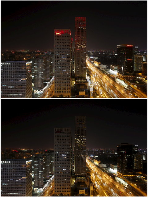 Combination picture shows Yintai Centre buildings before and during Earth Hour, when they turn off the red lights on the tops, in Beijing's central business district, March 28, 2015. (Photo by Kim Kyung-Hoon/Reuters)