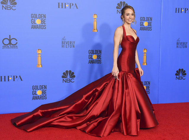 "Holly Taylor, from the cast of ""The Americans"", winner of the award for best television series, drama, poses in the press room at the 76th annual Golden Globe Awards at the Beverly Hilton Hotel on Sunday, January 6, 2019, in Beverly Hills, Calif. (Photo by Jordan Strauss/Invision/AP Photo)"