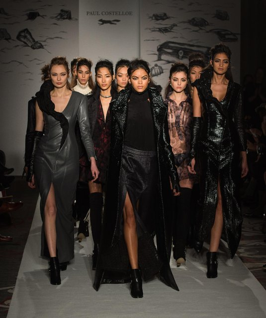 Models walk the catwalk at the Paul Costelloe presentation during London Fashion Week Autumn/Winter 2016/17 at Le Meridien Piccadily on February 19, 2016 in London, England. (Photo by Samir Hussein/Getty Images)