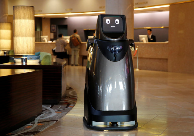 Panasonic's prototype delivery robot, HOSPI, designed to serve bottled beverages and provide bus information, is pictured at a hotel near Narita International Airport in Narita, Japan January 17, 2017. (Photo by Toru Hanai/Reuters)