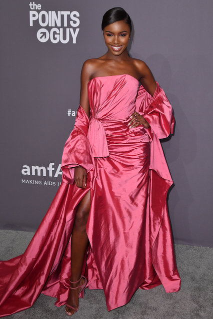 British model Leomie Anderson arrives to attend the amfAR Gala New York at Cipriani Wall Street in New York City on February 6, 2019. (Photo by Angela Weiss/AFP Photo)