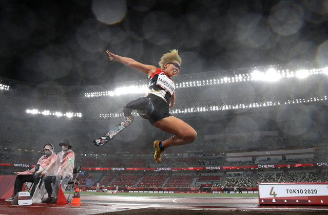 Kaede Maegawa of Team Japan competes in the Women's Long Jump T63 on day 9 of the Tokyo 2020 Paralympic Games at Olympic Stadiumon September 02, 2021 in Tokyo, Japan. (Photo by Alex Pantling/Getty Images)