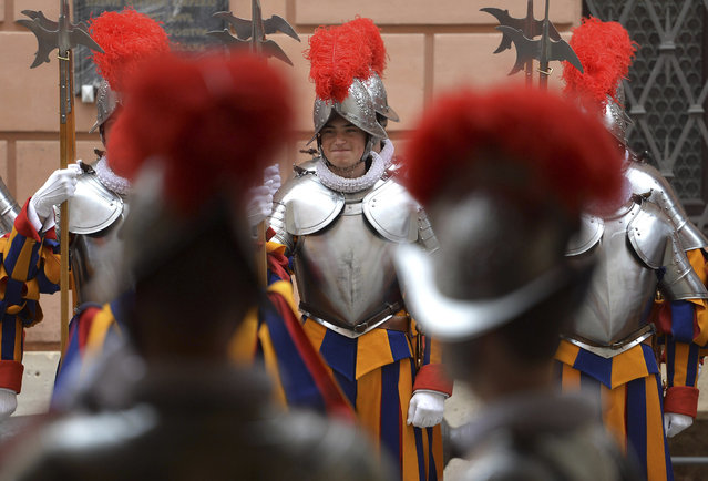 New Vatican Swiss Guards line up prior to a swearing-in ceremony, at the Vatican, Wednesday, May 6, 2015. (Photo by Ettore Ferrari/AP Photo/Pool Photo)