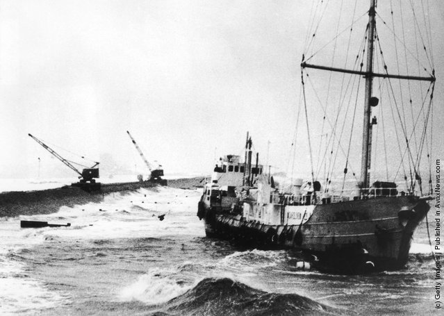 Radio Caroline's pirate radio ship MV Mi Amigo runs aground at Frinton-on-Sea on the Essex coast during a storm, 20th January 1966