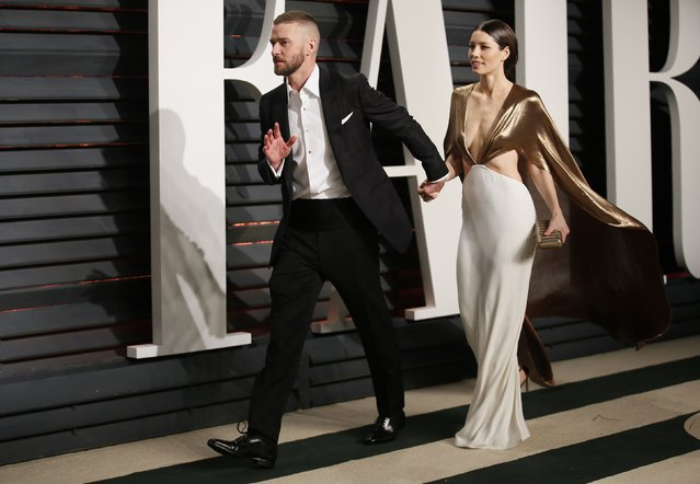 Singer Justin Timberlake and actress Jessica Biel arrive for the Vanity Fair Oscar Party hosted by Graydon Carter at the Wallis Annenberg Center for the Performing Arts on February 26, 2017 in Beverly Hills, California. (Photo by Danny Moloshok/Reuters)