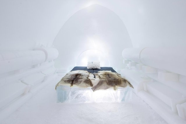 The bed is covered with reindeer hides, with an additional thermal sleeping bag to keep guests warm. (Photo by Icehotel.com/Exclusivepix Media)