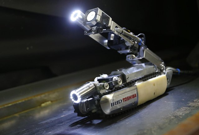 A robot developed by Toshiba Corp. is demonstrated its laboratory in Kawasaki, near Tokyo, Tuesday, June 30, 2015. As Japan struggles in the early stages of decades-long cleanup of the Fukushima nuclear crisis, Toshiba has developed the robot that raises its tail like a scorpion and collects data, and hopefully locate some of melted debris. (Photo by Shizuo Kambayashi/AP Photo)
