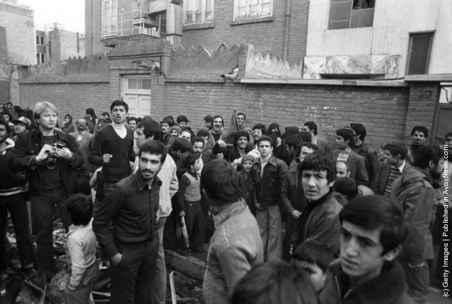 1979: Thousands of supporters calling for the return of their religious leader Ayatollah Khomeini in the streets of Tehran