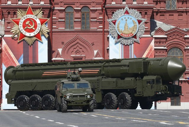 A Russian Yars RS-24 intercontinental ballistic missile system drives during the Victory Day parade, marking the 71st anniversary of the victory over Nazi Germany in World War Two, at Red Square in Moscow, Russia, May 9, 2016. (Photo by Grigory Dukor/Reuters)