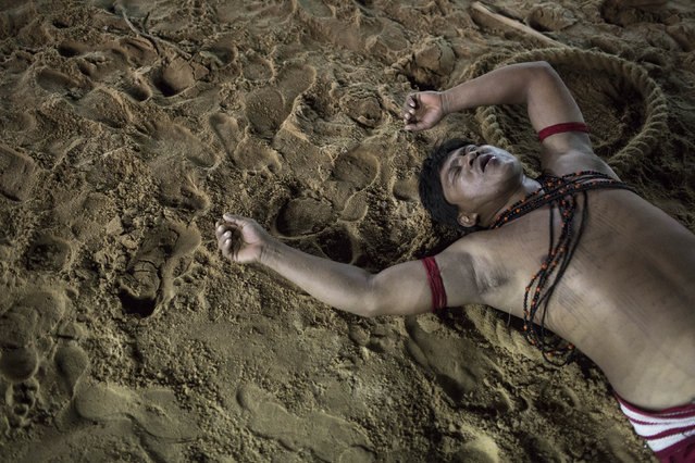 A Surui Indian lies on the ground in exhaustion after participating in a tug of war competition during the indigenous games in Cuiaba, Brazil, Wednesday, November 13, 2013. Around 1,600 Indians from 48 tribes are celebrating Brazil's indigenous cultures during the 12th edition of the Games of the Indigenous People, which runs until Nov. 16. (Photo by Felipe Dana/AP Photo)