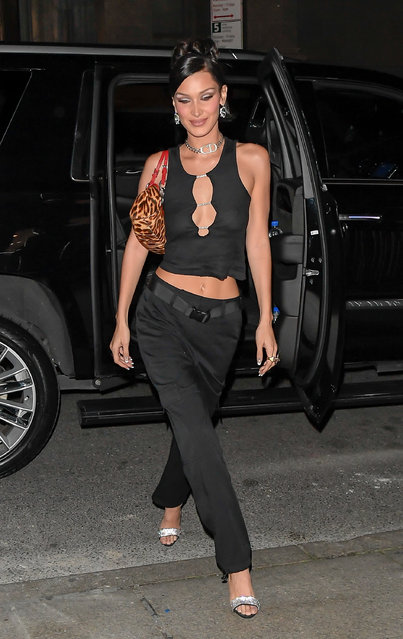 Bella Hadid is seen on October 10, 2019 in New York City. (Photo by Raymond Hall/GC Images)