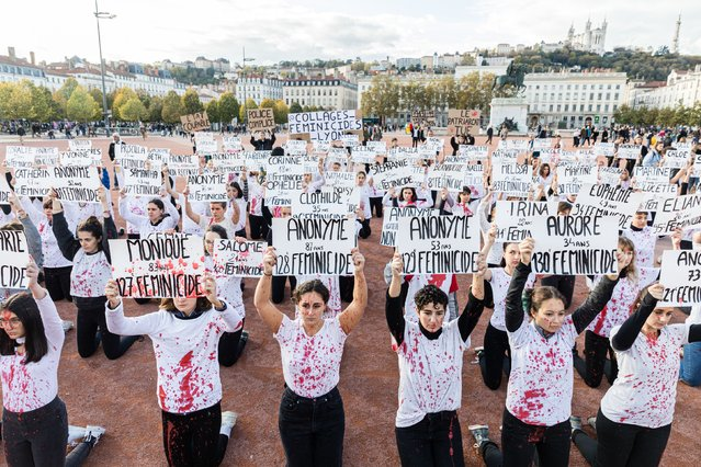 A group to fight against gender-based and sexual violence and feminicides, organized an happening in Lyon on Bellecour square in France on Saturday 9 November, where  29 women dressed in white and were covered in blood, displaying the first names of each of the victims. France, Lyon, Saturday 9 November 2019. (Photo by Konrad K./SIPA Press)