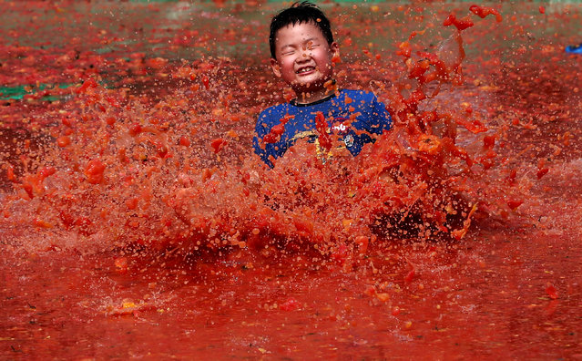 A South Korean child enjoys in a tomato pool during the 13th Hwacheon Tomato Festival on Sanae-myeon in Hwacheon-gun, some 90 kilometers northeast of Seoul, South Korea, July 31, 2015. The festival runs from July 30 to August 2. (Photo by Jeon Heon-Kyun/EPA)